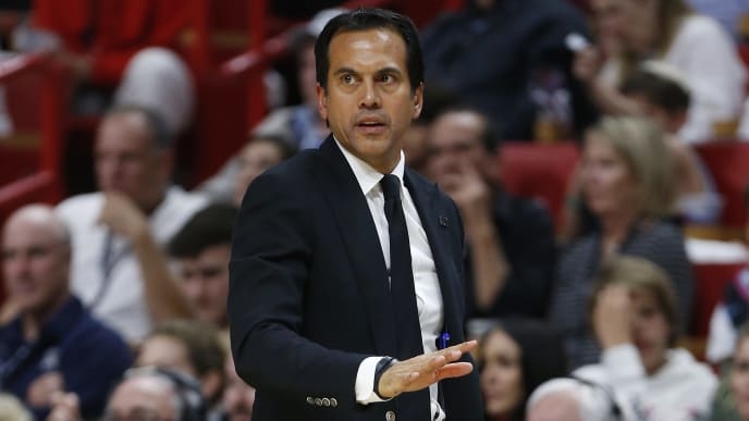 MIAMI, FLORIDA - APRIL 09: Head coach Erik Spoelstra of the Miami Heat looks on against the Philadelphia 76ers during the second half at American Airlines Arena on April 09, 2019 in Miami, Florida. NOTE TO USER: User expressly acknowledges and agrees that, by downloading and or using this photograph, User is consenting to the terms and conditions of the Getty Images License Agreement.  (Photo by Michael Reaves/Getty Images)