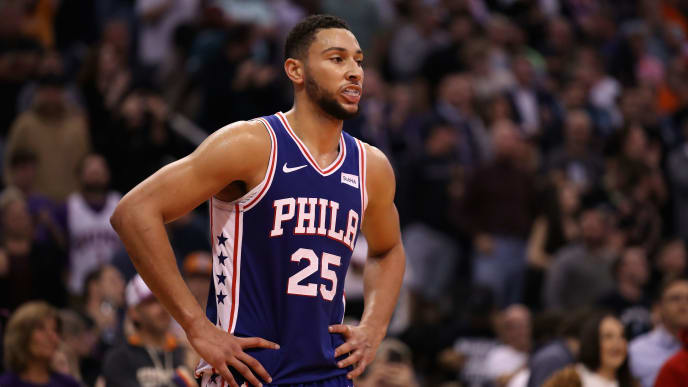 PHOENIX, ARIZONA - NOVEMBER 04: Ben Simmons #25 of the Philadelphia 76ers during the second half of the NBA game against the Phoenix Suns at Talking Stick Resort Arena on November 04, 2019 in Phoenix, Arizona.  The Suns defeated the 76ers 114-109.  NOTE TO USER: User expressly acknowledges and agrees that, by downloading and/or using this photograph, user is consenting to the terms and conditions of the Getty Images License Agreement (Photo by Christian Petersen/Getty Images)