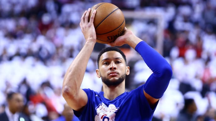 TORONTO, ON - MAY 07:  Ben Simmons #25 of the Philadelphia 76ers shoots the ball during warm up, prior to Game Five of the second round of the 2019 NBA Playoffs against the Toronto Raptors at Scotiabank Arena on May 7, 2019 in Toronto, Canada.  NOTE TO USER: User expressly acknowledges and agrees that, by downloading and or using this photograph, User is consenting to the terms and conditions of the Getty Images License Agreement.  (Photo by Vaughn Ridley/Getty Images)