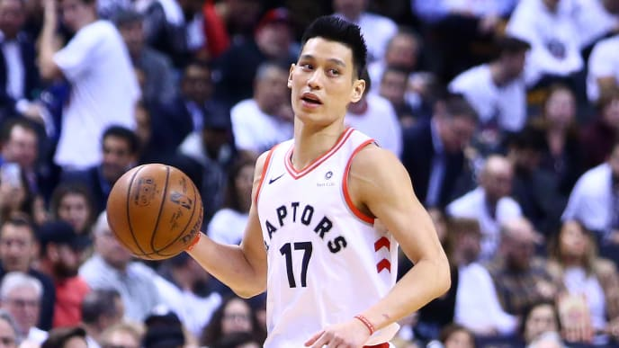 TORONTO, ON - MAY 07:  Jeremy Lin #17 of the Toronto Raptors dribbles the ball during Game Five of the second round of the 2019 NBA Playoffs against the Philadelphia 76ers at Scotiabank Arena on May 7, 2019 in Toronto, Canada.  NOTE TO USER: User expressly acknowledges and agrees that, by downloading and or using this photograph, User is consenting to the terms and conditions of the Getty Images License Agreement.  (Photo by Vaughn Ridley/Getty Images)