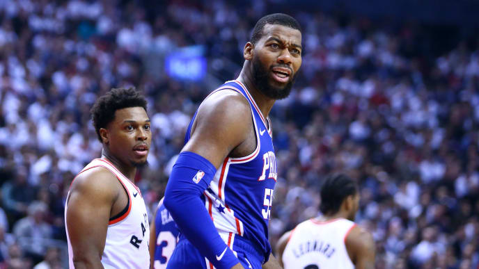 TORONTO, ON - MAY 07:  Greg Monroe #55 of the Philadelphia 76ers reacts in the first half during Game Five of the second round of the 2019 NBA Playoffs against the Toronto Raptors at Scotiabank Arena on May 7, 2019 in Toronto, Canada.  NOTE TO USER: User expressly acknowledges and agrees that, by downloading and or using this photograph, User is consenting to the terms and conditions of the Getty Images License Agreement.  (Photo by Vaughn Ridley/Getty Images)