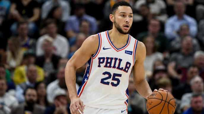 SALT LAKE CITY, UT - NOVEMBER 06:  Ben Simmons #25 of the Philadelphia 76ers in action during a game against the Utah Jazz at Vivint Smart Home Arena on November 6, 2019 in Salt Lake City, Utah. NOTE TO USER: User expressly acknowledges and agrees that, by downloading and/or using this photograph, user is consenting to the terms and conditions of the Getty Images License Agreement.  (Photo by Alex Goodlett/Getty Images)