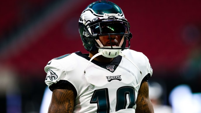 ATLANTA, GA - SEPTEMBER 15: DeSean Jackson #10 of the Philadelphia Eagles warms up prior to the start of a game against the Atlanta Falcons at Mercedes-Benz Stadium on September 15, 2019 in Atlanta, Georgia. (Photo by Carmen Mandato/Getty Images)