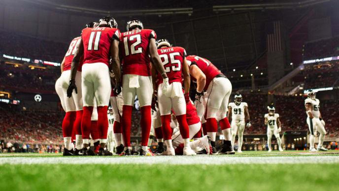 ATLANTA, GA - SEPTEMBER 15: Atlanta Falcons huddle during the first half of a game against the Philadelphia Eagles at Mercedes-Benz Stadium on September 15, 2019 in Atlanta, Georgia. (Photo by Carmen Mandato/Getty Images)
