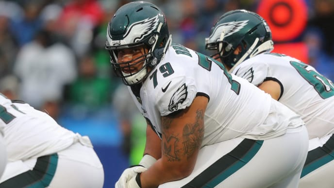 ORCHARD PARK, NY - OCTOBER 27:  Brandon Brooks #79 of the Philadelphia Eagles waits for the snap against the Buffalo Bills at New Era Field on October 27, 2019 in Orchard Park, New York.  Eagles beat the Bills 31 to 13. (Photo by Timothy T Ludwig/Getty Images)
