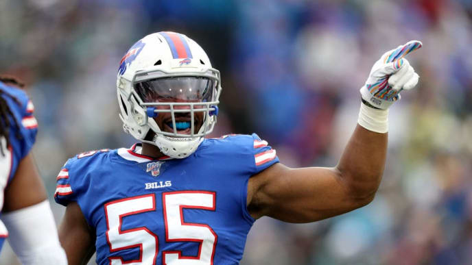 ORCHARD PARK, NEW YORK - OCTOBER 27: Jerry Hughes #55 of the Buffalo Bills reacts after a play during the second quarter of an NFL game against the Philadelphia Eagles at New Era Field on October 27, 2019 in Orchard Park, New York. (Photo by Bryan M. Bennett/Getty Images)