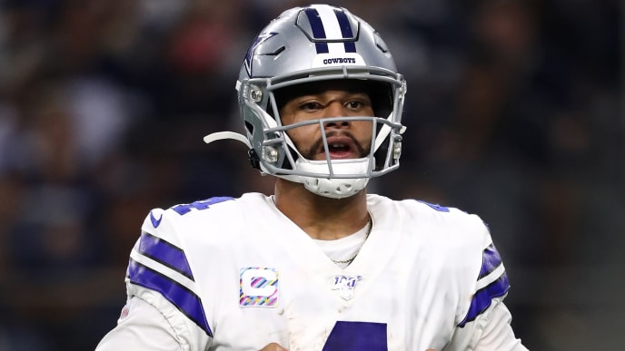 ARLINGTON, TEXAS - OCTOBER 20: Dak Prescott #4 of the Dallas Cowboys reacts during the first half in the game at AT&T Stadium on October 20, 2019 in Arlington, Texas. (Photo by Ronald Martinez/Getty Images)