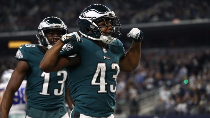 ARLINGTON, TEXAS - DECEMBER 09:  Darren Sproles #43 of the Philadelphia Eagles celebrates his touchdown against the Dallas Cowboys in the fourth quarter at AT&T Stadium on December 09, 2018 in Arlington, Texas. (Photo by Ronald Martinez/Getty Images)