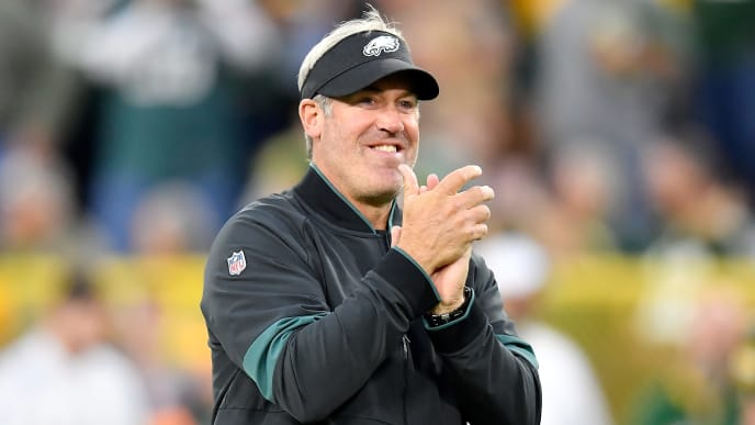 GREEN BAY, WISCONSIN - SEPTEMBER 26: Head coach Doug Pederson of the Philadelphia Eagles looks on before the game against the Green Bay Packers at Lambeau Field on September 26, 2019 in Green Bay, Wisconsin. (Photo by Quinn Harris/Getty Images)