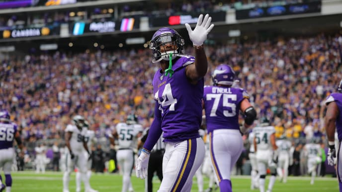 MINNEAPOLIS, MN - OCTOBER 13: Stefon Diggs #14 of the Minnesota Vikings celebrates his touchdown in the third quarter against the Philadelphia Eagles at U.S. Bank Stadium on October 13, 2019 in Minneapolis, Minnesota. (Photo by Adam Bettcher/Getty Images)