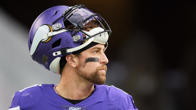 MINNEAPOLIS, MINNESOTA - OCTOBER 13: Adam Thielen #19 of the Minnesota Vikings looks on before the game against the Philadelphia Eagles at U.S. Bank Stadium on October 13, 2019 in Minneapolis, Minnesota. The Vikings defeated the Eagles 38-20. (Photo by Hannah Foslien/Getty Images)