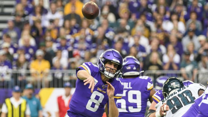 MINNEAPOLIS, MN - OCTOBER 13: Kirk Cousins #8 of the Minnesota Vikings passes the ball in the first quarter of the game agains the Philadelphia Eagles at U.S. Bank Stadium on October 13, 2019 in Minneapolis, Minnesota. (Photo by Stephen Maturen/Getty Images)