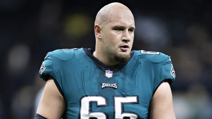 NEW ORLEANS, LA - NOVEMBER 18:  Lane Johnson #65 of the Philadelphia Eagles warms up before a game against the New Orleans Saints at Mercedes-Benz Superdome on November 18, 2018 in New Orleans, Louisiana.  The Saints defeated the Eagles 48-7.  (Photo by Wesley Hitt/Getty Images)