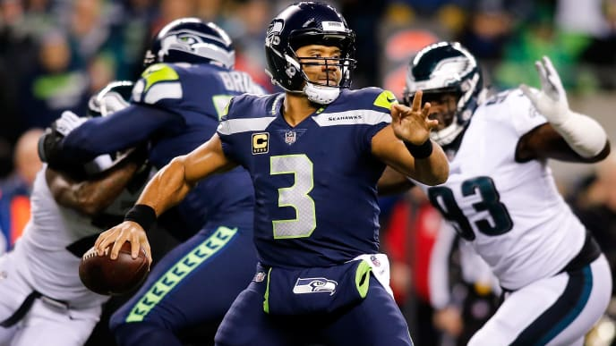 SEATTLE, WA - DECEMBER 03:  Quarterback Russell Wilson #3 of the Seattle Seahawks in action against the Philadelphia Eagles at CenturyLink Field on December 3, 2017 in Seattle, Washington.  (Photo by Jonathan Ferrey/Getty Images)