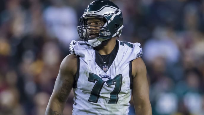 LANDOVER, MD - DECEMBER 30: Michael Bennett #77 of the Philadelphia Eagles looks on against the Washington Redskins during the second half at FedExField on December 30, 2018 in Landover, Maryland. (Photo by Scott Taetsch/Getty Images)