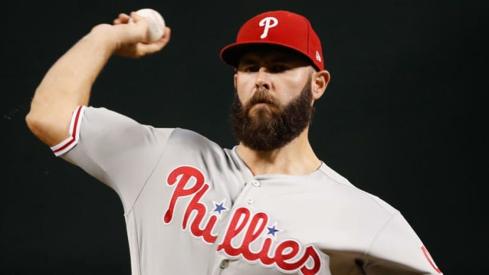PHOENIX, ARIZONA - AUGUST 06:  Starting pitcher Jake Arrieta #49 of the Philadelphia Phillies throws a warm-up pitch during the first inning of the MLB game against the Arizona Diamondbacks at Chase Field on August 06, 2019 in Phoenix, Arizona. (Photo by Christian Petersen/Getty Images)