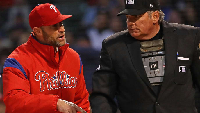 CHICAGO, ILLINOIS - MAY 21: Manager Gabe Kapler #19 of the Philadelphia Phillies argues with home plate umpire Hunter Wendelstedt #21 in the 4th inning against the Chicago Cubs at Wrigley Field on May 21, 2019 in Chicago, Illinois. (Photo by Jonathan Daniel/Getty Images)