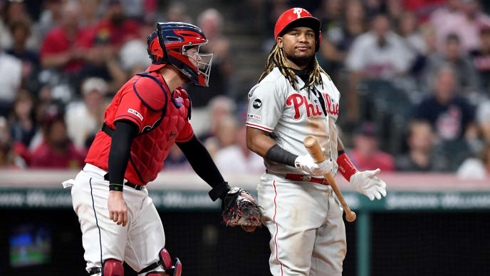 CLEVELAND, OHIO - SEPTEMBER 20: Catcher Roberto Perez #55 of the Cleveland Indians tags Maikel Franco #7 of the Philadelphia Phillies after Franco struck out swinging to end the top of the seventh inning at Progressive Field on September 20, 2019 in Cleveland, Ohio. (Photo by Jason Miller/Getty Images)