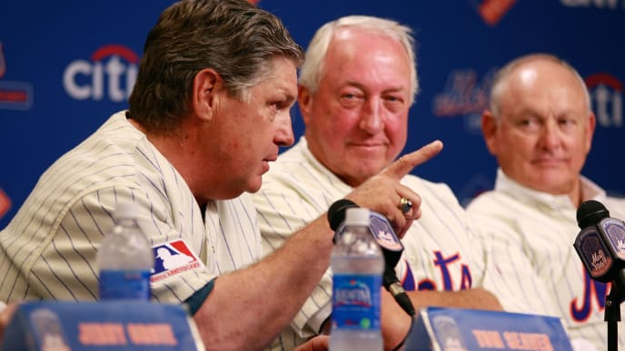 NEW YORK - AUGUST 22:  Tom Seaver speaks while Jerry Koosman and Nolan Ryan look on at a press conference commemorating the New York Mets 40th anniversary of the 1969 World Championship team on August 22, 2009 at Citi Field in the Flushing neighborhood of the Queens borough of New York City.  (Photo by Jared Wickerham/Getty Images)