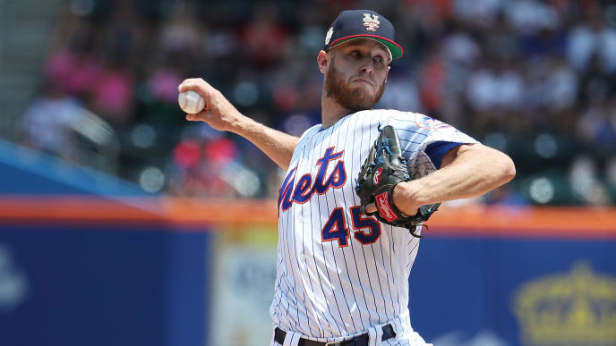 NEW YORK, NEW YORK - JULY 07:  Zack Wheeler #45 of the New York Mets pitches against the Philadelphia Phillies during their game at Citi Field on July 07, 2019 in New York City. (Photo by Al Bello/Getty Images)