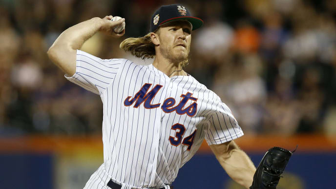 NEW YORK, NEW YORK - JULY 06:   Noah Syndergaard #34 of the New York Mets pitches during the third inning against the Philadelphia Phillies at Citi Field on July 06, 2019 in New York City. (Photo by Jim McIsaac/Getty Images)