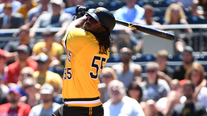 PITTSBURGH, PA - JULY 08: Josh Bell #55 of the Pittsburgh Pirates at bat during the game against the Philadelphia Phillies at PNC Park on July 8, 2018 in Pittsburgh, Pennsylvania. (Photo by Justin Berl/Getty Images)