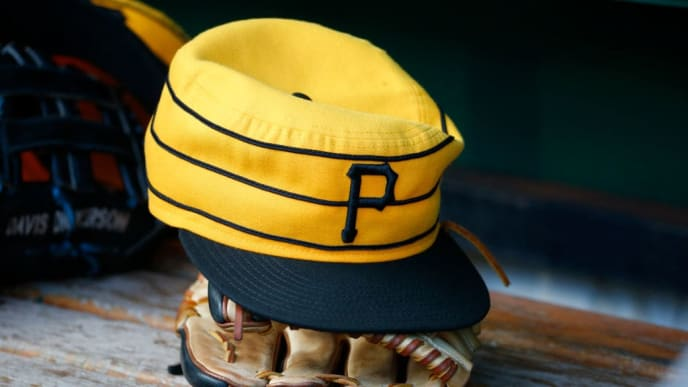 PITTSBURGH, PA - JULY 20:  A New Era pillbox Pittsburgh Pirates baseball hat is seen in the dugout during the game against the Philadelphia Phillies at PNC Park on July 20, 2019 in Pittsburgh, Pennsylvania.  (Photo by Justin K. Aller/Getty Images)
