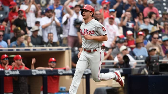 SAN DIEGO, CA - JUNE 5: Adam Haseley #40 of the Philadelphia Phillies runs as he scores during the eighth inning of a baseball game against the San Diego Padres at Petco Park June 5, 2019 in San Diego, California.  (Photo by Denis Poroy/Getty Images)