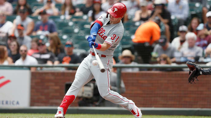 SAN FRANCISCO, CALIFORNIA - AUGUST 10: Corey Dickerson #31 of the Philadelphia Phillies hits a solo home run in the top of the first inning against the San Francisco Giants at Oracle Park on August 10, 2019 in San Francisco, California. (Photo by Lachlan Cunningham/Getty Images)