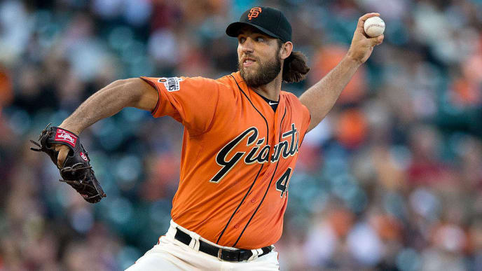 SAN FRANCISCO, CA - JULY 10:  Madison Bumgarner #40 of the San Francisco Giants pitches against the Philadelphia Phillies during the first inning at AT&T Park on July 10, 2015 in San Francisco, California.  (Photo by Jason O. Watson/Getty Images)