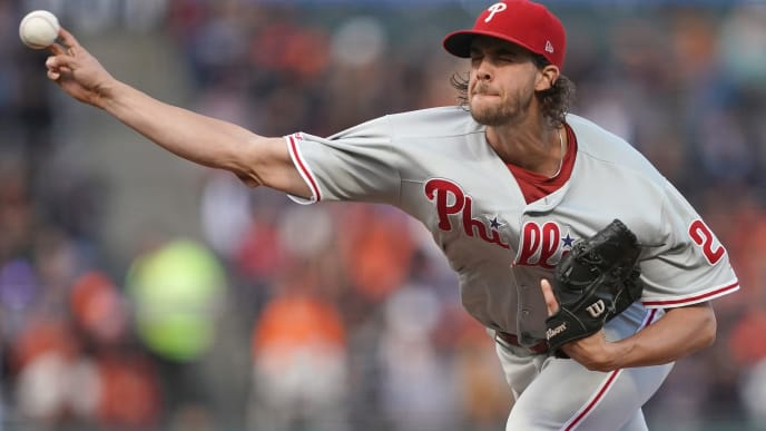 SAN FRANCISCO, CALIFORNIA - AUGUST 08: Aaron Nola #27 of the Philadelphia Phillies pitches against the San Francisco Giants in the bottom of the first inning at Oracle Park on August 08, 2019 in San Francisco, California. (Photo by Thearon W. Henderson/Getty Images)