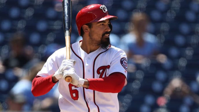 WASHINGTON, DC - JUNE 19: Anthony Rendon #6 of the Washington Nationals bats against the Philadelphia Phillies in game one of a double header at Nationals Park on June 19, 2019 in Washington, DC. (Photo by Patrick Smith/Getty Images)