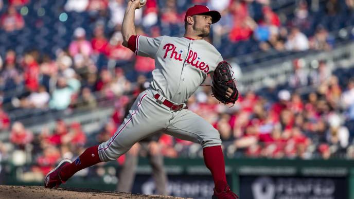 WASHINGTON, DC - April 03: David Robertson #30 of the Philadelphia Phillies pitches against the Washington Nationals during the ninth inning at Nationals Park on April 3, 2019 in Washington, DC.  (Photo by Scott Taetsch/Getty Images)