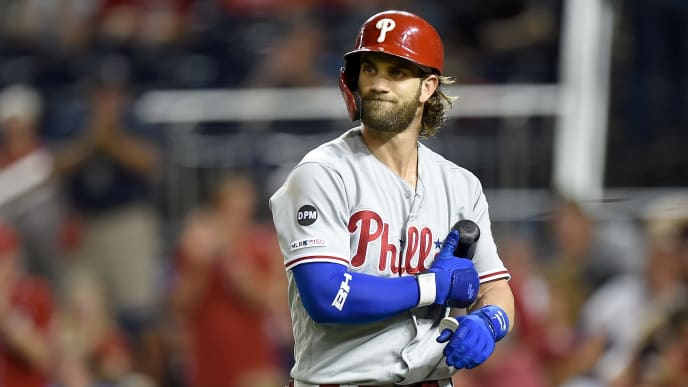 WASHINGTON, DC - SEPTEMBER 23:  Bryce Harper #3 of the Philadelphia Phillies walks to the dugout after striking out in the eighth inning against the Washington Nationals at Nationals Park on September 23, 2019 in Washington, DC.  (Photo by Greg Fiume/Getty Images)
