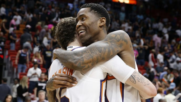 MIAMI, FLORIDA - FEBRUARY 25:  Jamal Crawford #11 of the Phoenix Suns celebrates with Tyler Johnson #16 after defeating the Miami Heat at American Airlines Arena on February 25, 2019 in Miami, Florida. NOTE TO USER: User expressly acknowledges and agrees that, by downloading and or using this photograph, User is consenting to the terms and conditions of the Getty Images License Agreement. (Photo by Michael Reaves/Getty Images)
