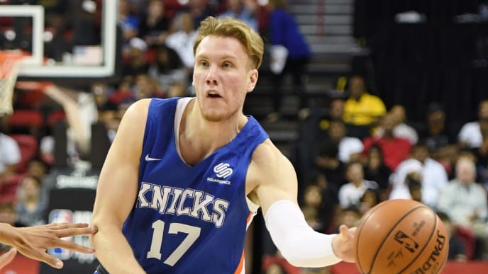 LAS VEGAS, NEVADA - JULY 07:  Ignas Brazdeikis #17 of the New York Knicks passes against the Phoenix Suns during the 2019 NBA Summer League at the Thomas & Mack Center on July 7, 2019 in Las Vegas, Nevada. NOTE TO USER: User expressly acknowledges and agrees that, by downloading and or using this photograph, User is consenting to the terms and conditions of the Getty Images License Agreement.  (Photo by Ethan Miller/Getty Images)