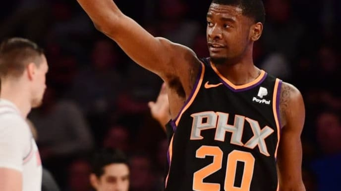 NEW YORK, NEW YORK - DECEMBER 17: Josh Jackson #20 of the Phoenix Suns reacts after making a basket during the fourth quarter of the game against the Phoenix Suns at Madison Square Garden on December 17, 2018 in New York City. NOTE TO USER: User expressly acknowledges and agrees that, by downloading and or using this photograph, User is consenting to the terms and conditions of the Getty Images License Agreement. (Photo by Sarah Stier/Getty Images)