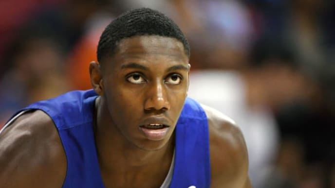 LAS VEGAS, NEVADA - JULY 07:  RJ Barrett #8 of the New York Knicks stands on the court during a game against the Phoenix Suns during the 2019 NBA Summer League at the Thomas & Mack Center on July 7, 2019 in Las Vegas, Nevada. NOTE TO USER: User expressly acknowledges and agrees that, by downloading and or using this photograph, User is consenting to the terms and conditions of the Getty Images License Agreement.  (Photo by Ethan Miller/Getty Images)