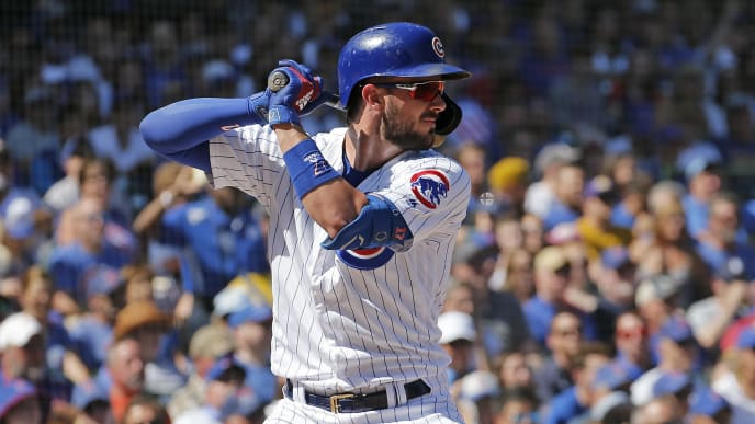 CHICAGO, ILLINOIS - SEPTEMBER 14: Kris Bryant #17 of the Chicago Cubs  at bat during the first inning of a game against the Pittsburgh Pirates at Wrigley Field on September 14, 2019 in Chicago, Illinois. (Photo by Nuccio DiNuzzo/Getty Images)