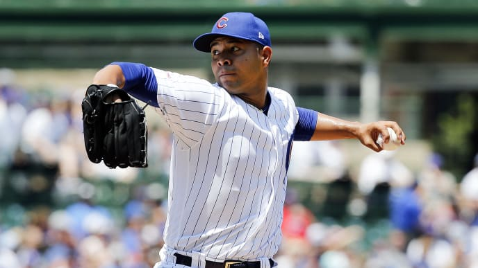 CHICAGO, ILLINOIS - JULY 14: Jose Quintana #62 of the Chicago Cubs  pitches in the first inning during the game against the Pittsburgh Pirates at Wrigley Field on July 14, 2019 in Chicago, Illinois. (Photo by Nuccio DiNuzzo/Getty Images)