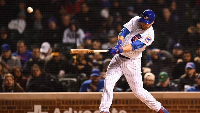 CHICAGO, ILLINOIS - APRIL 11:  Ben Zobrist #18 of the Chicago Cubs gets a base hit against the Pittsburgh Pirates during the sixth inning at Wrigley Field on April 11, 2019 in Chicago, Illinois. (Photo by Stacy Revere/Getty Images)