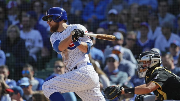 CHICAGO, ILLINOIS - APRIL 08: Ben Zobrist #18 of the Chicago Cubs bats against the Pittsburgh Pirates during the home opening game at Wrigley Field on April 08, 2019 in Chicago, Illinois. The Cubs defeated the Pirates 10-0. (Photo by Jonathan Daniel/Getty Images)