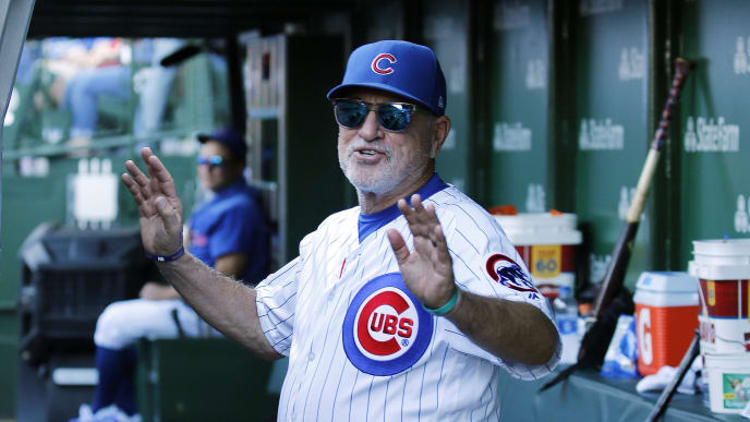 CHICAGO, ILLINOIS - SEPTEMBER 14: Manager Joe Maddon #70 of the Chicago Cubs heads to the clubhouse after being ejected during the ninth inning of a game against the Pittsburgh Pirates at Wrigley Field on September 14, 2019 in Chicago, Illinois. (Photo by Nuccio DiNuzzo/Getty Images)