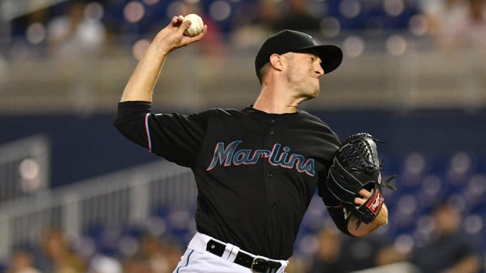 MIAMI, FL - JUNE 14: Trevor Richards #36 of the Miami Marlins delivers a pitch in the first inning against the Pittsburgh Pirates at Marlins Park on June 14, 2019 in Miami, Florida. (Photo by Mark Brown/Getty Images)