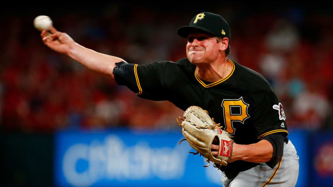 ST LOUIS, MO - AUGUST 10: Kyle Crick #30 of the Pittsburgh Pirates delivers a pitch against the St. Louis Cardinals in the eighth inning at Busch Stadium on August 10, 2019 in St Louis, Missouri. (Photo by Dilip Vishwanat/Getty Images)