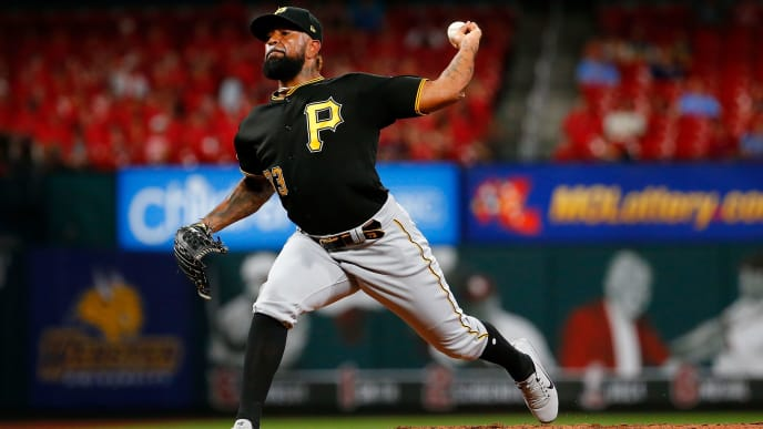 ST LOUIS, MO - JULY 16: Felipe Vazquez #73 of the Pittsburgh Pirates delivers a pitch against the St. Louis Cardinals in the ninth inning at Busch Stadium on July 16, 2019 in St Louis, Missouri. (Photo by Dilip Vishwanat/Getty Images)