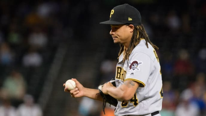 PHOENIX, ARIZONA - MAY 15: Chris Archer #24 of the Pittsburgh Pirates reacts while pitching in the first inning of the MLB game against the Arizona Diamondbacks at Chase Field on May 15, 2019 in Phoenix, Arizona. (Photo by Jennifer Stewart/Getty Images)