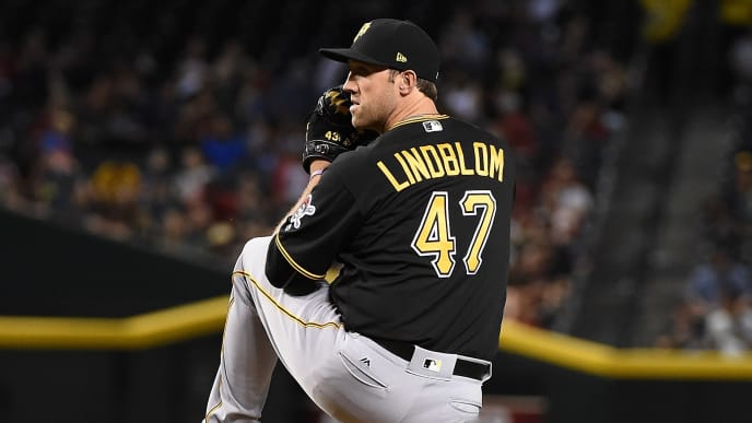 PHOENIX, AZ - MAY 12:  Josh Lindblom #47 of the Pittsburgh Pirates delivers a pitch against the Arizona Diamondbacks at Chase Field on May 12, 2017 in Phoenix, Arizona.  (Photo by Norm Hall/Getty Images)
