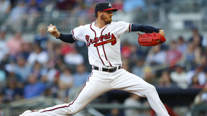 ATLANTA, GA - JUNE 10: Kevin Gausman #45 of the Atlanta Braves pitches during the first inning of an MLB game against the Pittsburgh Pirates at SunTrust Park on June 10, 2019 in Atlanta, Georgia. (Photo by Todd Kirkland/Getty Images)