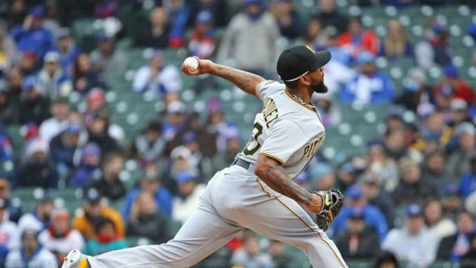 CHICAGO, IL - APRIL 10:  Felipe Rivero #73 of the Pittsburgh Pirates pitches in the 9th inning against the Chicago Cubs during the Opening Day home game at Wrigley Field on April 10, 2018 in Chicago, Illinois. The Pirates defeated the Cubs 8-5.(Photo by Jonathan Daniel/Getty Images)